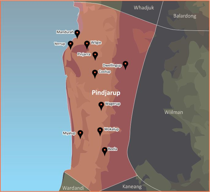 Tindale Language Map - Pindjarup